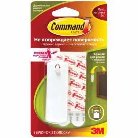 Крючок самоклеящийся легкоудаляемый для рамок Command с тверд. петлями,белый,до 2кг,1шт.+2 полоски
