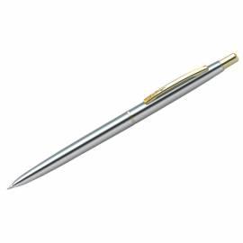 """Ручка шариковая Berlingo """"Golden Prestige"""" синяя, 0,7мм, корпус хром/золото, автомат, пластик.футляр"""