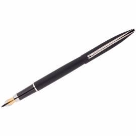 """Ручка перьевая Berlingo """"Silk Prestige"""" синяя, 0,8мм, корпус черный/хром, пластик. футляр"""