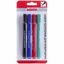 Набор маркеров для флипчарта Berlingo 4цв., пулевидный, 2мм, блистер, европодвес