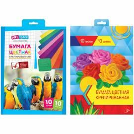 Набор крепированной бумаги ArtSpace, А4, 32г/м2, 10 листов, 10 цветов, в папке