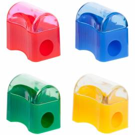 """Точилка пластиковая ArtSpace """"Сундучок"""", 1 отверстие, контейнер, ассорти"""
