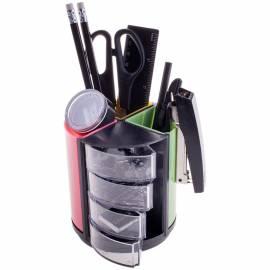"""Настольный органайзер OfficeSpace """"Витраж"""", 11 предметов, вращающийся, черный/цветной"""