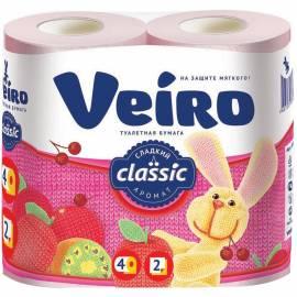 "Бумага туалетная Veiro ""Classic"" 2-х слойн., 4шт., тиснение, розовая"
