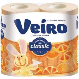 "Бумага туалетная Veiro ""Classic"" 2-х слойн., 4шт., тиснение, желтая"