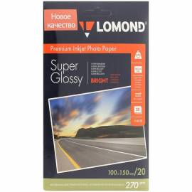 Бумага A6 (100*150) для стр. принтеров Lomond, 270г/м2 (20л) супергл.