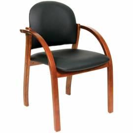 Конференц-кресло Chairman 659 WD,экокожа черная матовая/темный орех