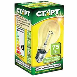 Лампа накаливания Старт Б 75W, E27, прозрачная