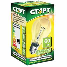 Лампа накаливания Старт Б 60W, E27, прозрачная