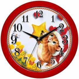"""Часы настенные ход плавный, детские Камелия """"Котик"""", круглые, 29*29*3,5, красная рамка"""