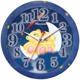 """Часы настенные ход плавный, детские Камелия """"Мишки"""", круглые, 29*29*3,5, синяя рамка"""