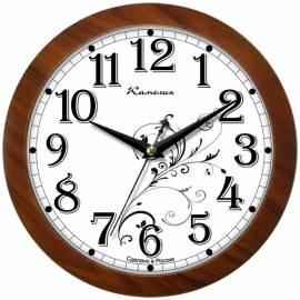 """Часы настенные ход плавный, офисные Камелия """"Классика с узором"""", круглые, 29*29*3,5, коричн. рамка"""