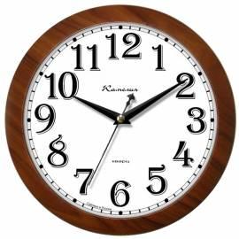 """Часы настенные ход плавный, офисные Камелия """"Орех золотой 2"""", круглые, 29*29*3,5, коричн. рамка"""