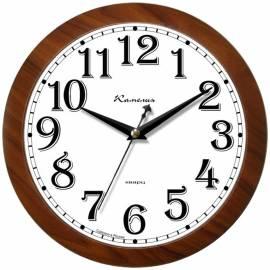 """Часы настенные ход плавный, офисные Камелия """"Орех золотой 3"""", круглые, 29*29*3,5, коричн. рамка"""