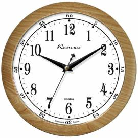 """Часы настенные ход плавный, офисные Камелия """"Дуб светлый"""", круглые, 29*29*3,5, св-корич. рамка"""