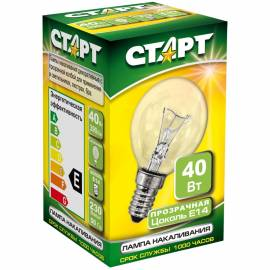 Лампа накаливания Старт ДШ 40W, E14, прозрачная