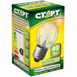 Лампа накаливания Старт ДШ 40W, E27, прозрачная