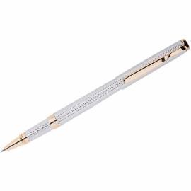 Ручка-роллер Delucci синяя, 0,6мм, корпус серебряный/золото, подар. уп.