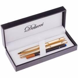Набор Delucci: ручка шариковая, 1,0мм и ручка-роллер, 0,6мм, синие, корпус золото, подар. уп.