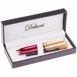 Набор Delucci: ручка шариковая, 1,0мм и ручка-роллер, 0,6мм, синие, корпус вишня/золото,подар. уп.
