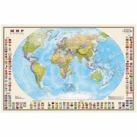 """Карта """"Мир"""" политическая DMB, 1:40млн., 900*580мм, с флагами, матовая ламинация"""