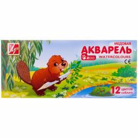"""Акварель Луч """"Zoo"""", медовая, 12 цветов, без кисти, картон"""