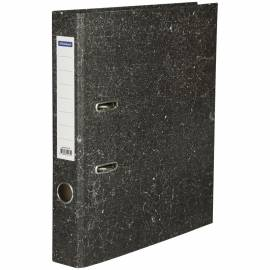 Папка-регистратор OfficeSpace, 50мм, мрамор, бюджет, черная