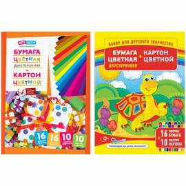 Набор цв.картона 10л. и двусторон. цв. бумаги 16л., A4, ArtSpace, на склейке