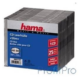 HAMA Коробка для 1 CD slim, прозрачный/черный, 25 шт. [H-51167]