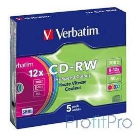 Verbatim Диски CD-RW 8-12x 700Mb 80min (Slim Case, 5 шт.) [43167]