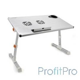 """CROWN Столик для ноутбука CMLS-101 (silver) ( 17"""", активное охлаждение, алюминий, регулировка высота и наклона, размеры панели"""