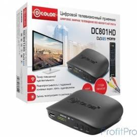 Ресивер DVB-T2 D-Color DC801HD черный MStar 7T01, maxliner 608, RCA, HDMI, USB