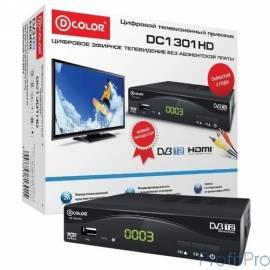 Ресивер DVB-T2 D-Color DC1301HD черный MStar 7T01, maxliner 608, HDMI, RCA, RF,USB2.0