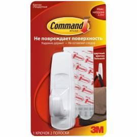 Крючок самоклеящийся легкоудаляемый Command, большой, белый, до 2,25кг, 1шт.+ 2 полоски, блистер