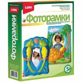 """Набор для изготовления фоторамок из гипса Lori """"Попугайчики и черепашка"""", картонная коробка"""