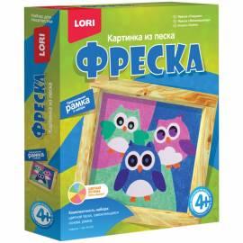 """Фреска-картина из песка Lori """"Совушки"""", от 4-х лет, картонная коробка"""
