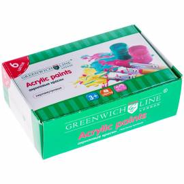 Краски акриловые Greenwich Line, 06 цветов, перламутр, 20мл, картон