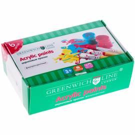 Краски акриловые Greenwich Line, 06 цветов, флуоресцентные, 20мл, картон