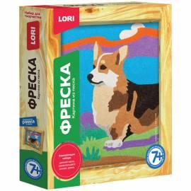 """Фреска-картина из песка Lori """"Собачка корги"""", от 7-ми лет, картонная коробка"""