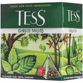 "Чай Tess ""Ginger Mojito"", зеленый, цитрус, имбирь, мята, 20 пакетиков-пирмидок по 1,8г"