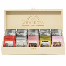 """Подарочный набор чая Ahmad Tea """"Коллекция"""", 10 видов, 100 фольг. пакетиков, в деревянной шкатулке"""