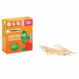 Зубочистки бамбуковые Paterra, с ментолом, 300шт., картонная коробка