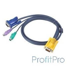 ATEN 2L-5203P Кабель KVM PS/2(Kлав+мышь)(Male)+HDB15(Male) - SPHD15(Male) 3,0м., тонкий, черный.