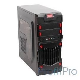 3Cott 1818 ATX w/o PSU, окно USB 3.0( с доп.коннектором USB 2.0), 2х 12см LED новые красные вент-ры, Black