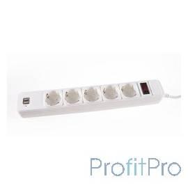 3Cott Сетевой фильтр 3Cott 3C-SP1005UW-3.0 (5 евро-розеток с заземлением+ 2 USB разъема, 3 м, белый, коробка) 0480846