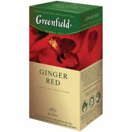 """Чай Greenfield """"Ginger Red"""", травяной, имбирь, шиповник, яблоко, гибискус, 25 фольг. пакетиков по 2г"""