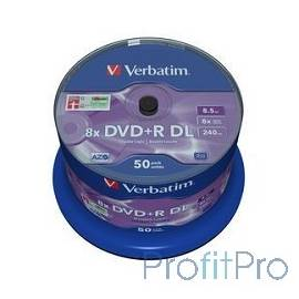 Verbatim Диски DVD+R 8,5 GB 8x CB/50 Double Layer (43758)