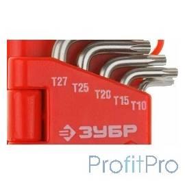 """Набор ЗУБР Ключи """"МАСТЕР"""" имбусовые короткие, Cr-V, сатинированное покрытие, пластик. держатель, TORX Т10-Т50, 9 пред [27462-1_"""