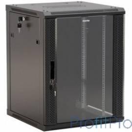 """Hyperline TWB-1266-GP-RAL9004 Шкаф настенный 19-дюймовый (19""""), 12U, 650x 600х 600мм, стеклянная дверь с перфорацией по бокам,"""