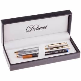 Набор Delucci: ручка шариковая, 1,0мм и ручка-роллер, 0,6мм, синие, корпус серебро, подар. уп.